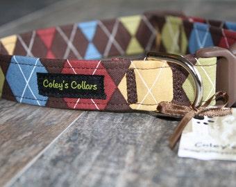 "Brown Blue Yellow Green Argyle Dog Collar ""The Wentworth"" Custom Dog Collar"