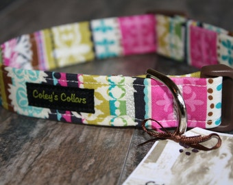 "Damask Stripe Dog Collar ""The Julianna"" Custom Dog Collar"