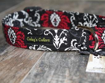 "Pink Black and Ivory Damask Dog Collar ""Damask"" Custom Dog Collar"