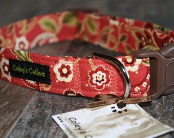 "Dog Collar ""Coral Rose Paisley"""