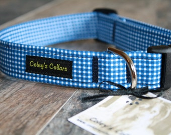 "Dog Collar ""The Gingham in Blue"" Gingham Dog Collar"