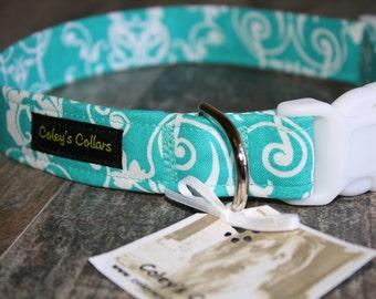 """Turquoise Blue and White Dog Collar """"Damask """" Custom Damask Dog Collar"""