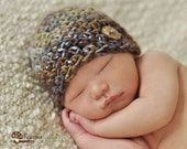 Newborn Baby Boy Brown, Blue and Green Coconut  Button Hat, Great for Photo Prop