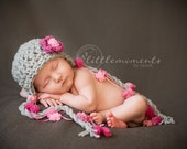 Baby Girl Hat, Newborn Hat, Baby Girl Crochet Hat in Pink and Gray, Earflap PomPom Hat, Baby Girl Photo Prop