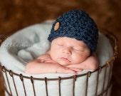 Baby Boy Hat ,Newborn Hat, Baby Boy Crochet Hat, Blue Chunky Crochet Hat with Button, Brown Wool Hat, Newborn Prop, EcoStreet Photo Prop