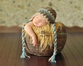Baby Boy Hat, Newborn Crochet Hat in Barley Brown, Blue and Tan, Rustic Earflap Hat, Baby Boy Photo Prop