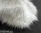 "Off White Newborn Baby Boy or Girl Mongolian 3"" Pile Faux Fur Blanket, Great for photo prop"
