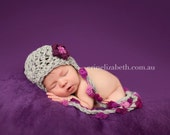 Newborn Baby Girl Purple, Fuchsia and Gray Earflap Crochet Hat, Great for Photo Prop