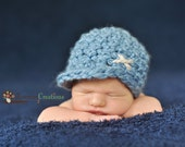 Newborn Baby Boy Chunky Tan Off White Stitch and Blue Crochet Hat with Brim, Great for Photo Prop
