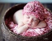 Baby Girl Hat, Newborn Baby Girl  Flower Crochet Hat in Pink, Great for Photo Prop