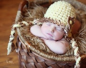 Baby Girl and Boy Hat, Newborn Crochet Hat  in Tan, Yellow and Brown with Earflap, Great for Photo Prop