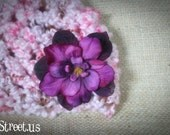 Baby Girl Hat, Newborn Baby Girl  Flower Crochet Hat in Purple, Pink and Brown, Great for Photo Prop