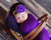 Baby Headband, Purple Shabby Chic Newborn Headband, Great for Photo Prop