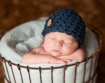 Baby Boy Hat ,Newborn Hat, Baby Boy Crochet Hat, Blue Chunky Crochet Hat with Button, Wool Hat, Newborn Props, RTS Props, Baby Props