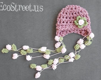 Baby Girl Hat, Newborn Baby Girl Crochet Hat in Dusty Pink and Sage Green PomPom with Flower, Newborn Props
