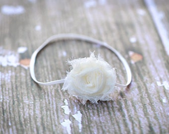 Ivory Baby Headband, Off White Headband, Ivory Shabby Chic Headbadn, Newborn Headband, Great for Photo Prop
