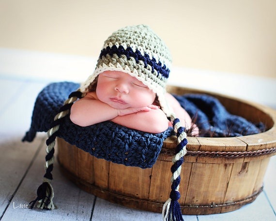 Baby Boy Hat, Newborn Baby Boy Crochet Hat in Green, Navy and White Earflap, Great for Photo Prop
