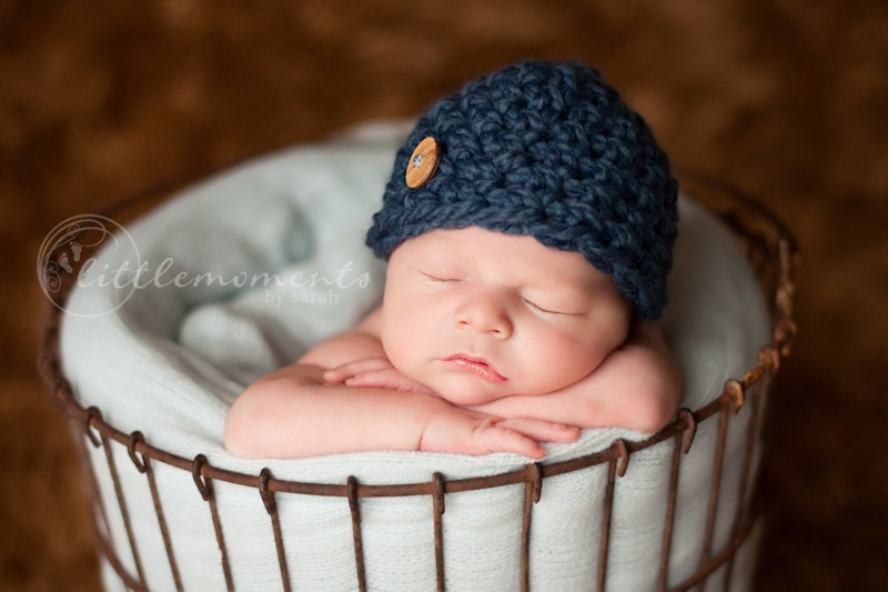 Crochet Newborn Hats : Items similar to Baby Boy Hat, Newborn Baby Boy Crochet Hat Chunky ...