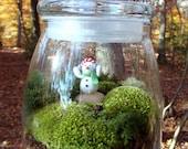 Large VIBE JAR , Terrarium, Snowman, Christmas, Moss and Lichen. Terrariums by mossterrariums on Etsy.
