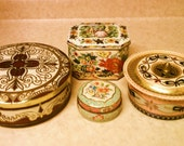 RESERVED for lblanchefleur Vintage 1960s 1970s Daher Baret Ware Floral Colorful England English Candy Cookie Tins 4 Tin Collection Lot