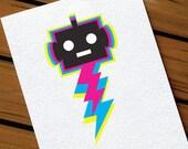 Kids Birthday Card Robot Lightening Bolt