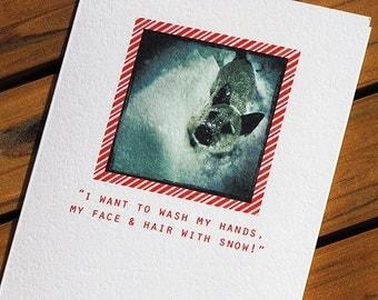 Cute Christmas Card - White Christmas Dog Card