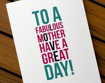 Cute Mothers Day Card I Love Mom Fabulous Mother
