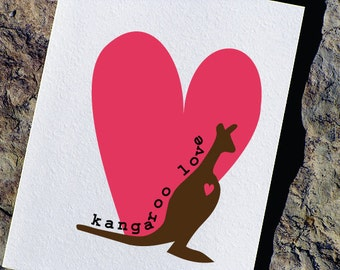 Cute Valentines Card - Kangaroo Love