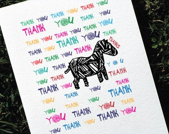 Zebra Thank You Card