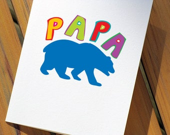 Papa Bear Fathers Day Card For Dad