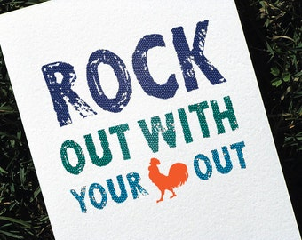 Funny Birthday Card Rockin Rooster Colorful Version