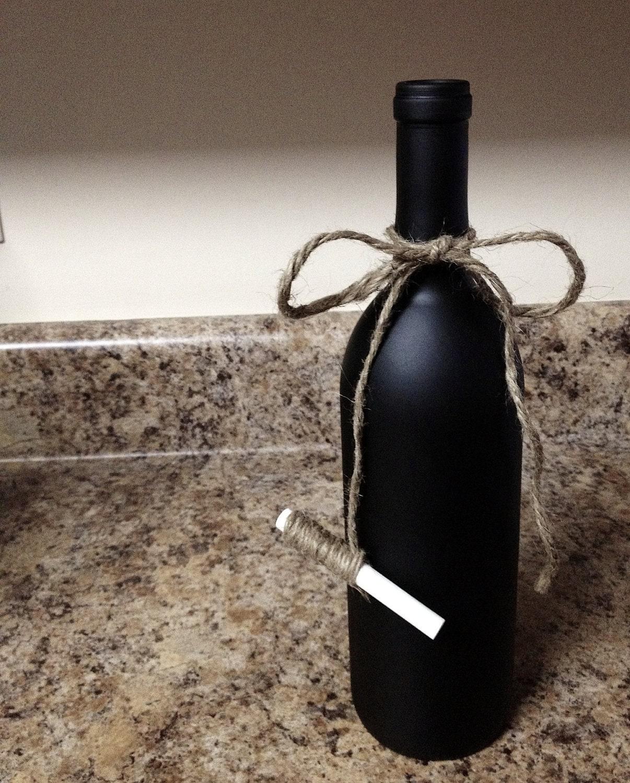 Cute chalkboard wine bottle with twine tied chalk for Cute wine bottles