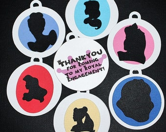 Princess silhouette thank you tags for favor bags custom set of 18
