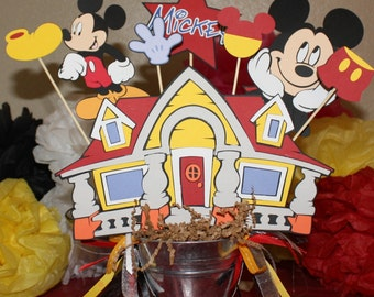 Mickey Mouse party centerpiece for a child's party personalized with age and name