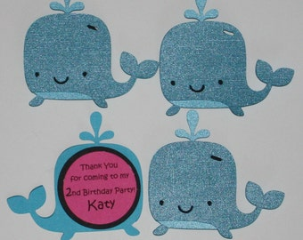 Whale thank you tags for favor bags custom set of 12