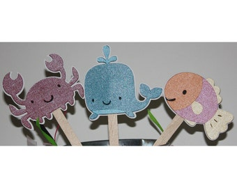 whale fish and crab cupcake toppers