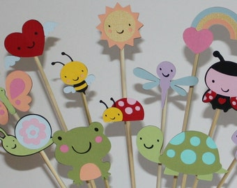 Girlie bugs insects and amphibians personalized party centerpiece