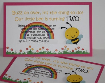Baby Bee and rainbow birthday party invitation
