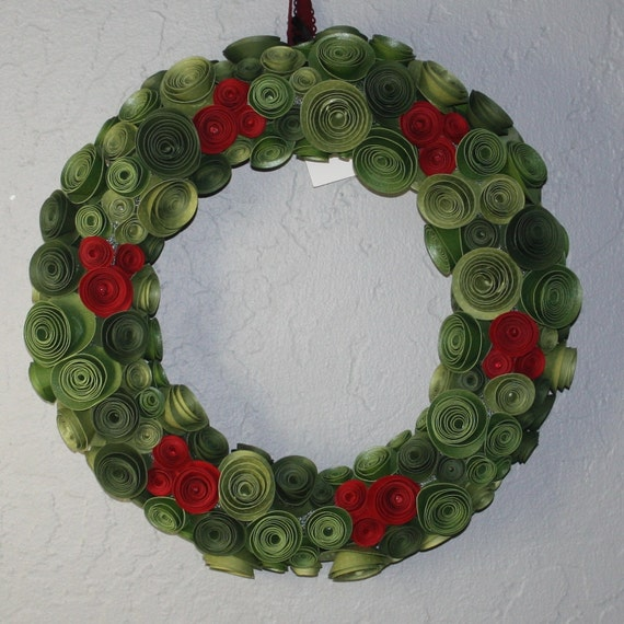 Holly inspired rose wreath Made to order
