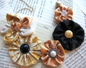 Champagne Party Necklace - fabric statement bib in Gold, Ivory and Black Satin