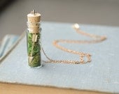 Arrow & Moss Necklace // Autumn Woodland Pendant with Natural Moss, Glass Vial and Cork