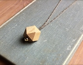 Faceted Wood Geometric Necklace / Minimalist Wooden Pendant / Rustic Modern Style
