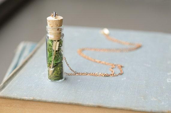 Bohemian Arrow in a Bottle Pendant / Sagittarius Jewelry / Glass Terrarium Necklace