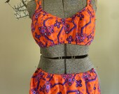 Vintage 1960s Bikini Two Piece Bathing Suit Bright Orange Purple and Blue Cotton Blend