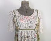 1970s Lace and Cotton Maxi Dress / Boho Hippie Gown / Woodstock Festival Dancing