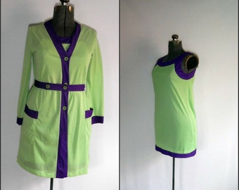 1960s MOD Robe/Nightgown Set  Vintage Formfit Rogers Green/Purple