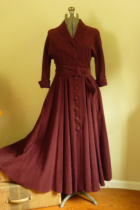 Vintage J Peterman 1930 1940 Style Long Dress Burgundy