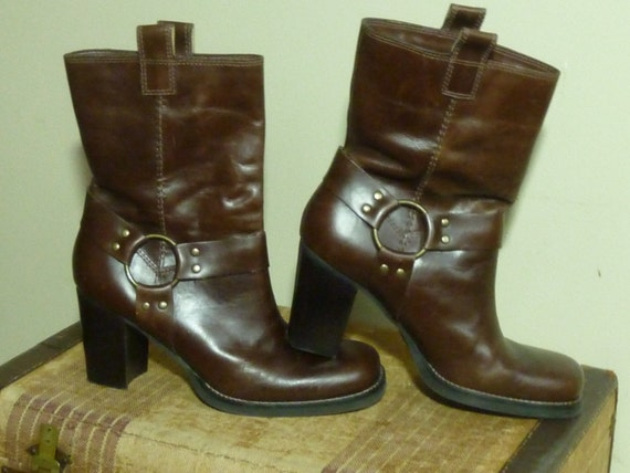 Vintage Motorcycle Boots Brown Leather Size 8.5M