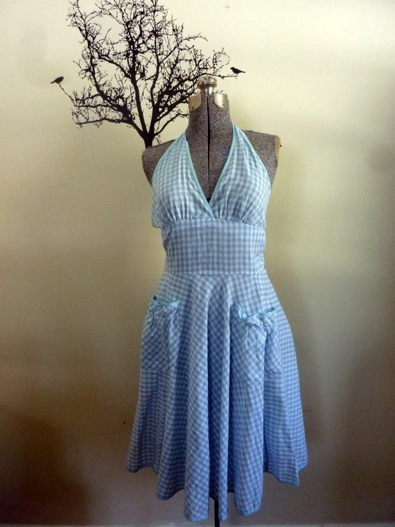 Vintage 1960s-1970s Cotton Rockabilly Halter Dress Bue and White Checks We're Off to See the WIZARD - Size Small