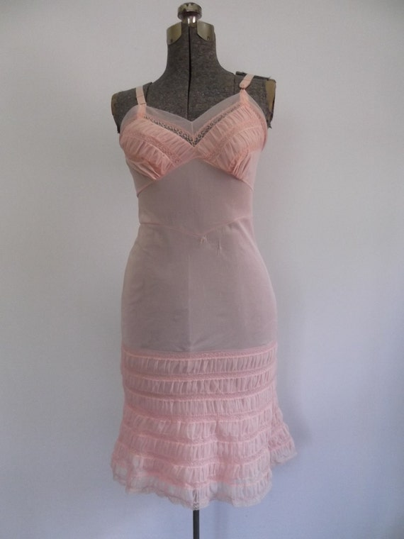 Vintage 1950s Full Slip Pink Ruffled and Ruched